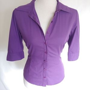 Andrew & Co Purple Button Down Top